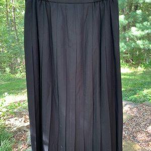 Talbots black pleated wool skirt